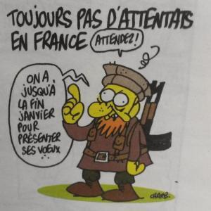 Dernier dessin de Charb, pour le numéro de cette semaine.